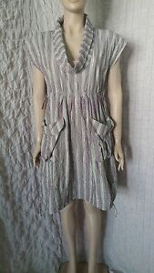 The-Masai-Clothing-creasy-multicoloured-striped-dress-with-deep-cowl-neck-size-M