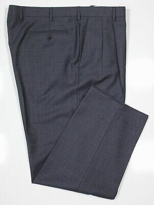 *zanella* Bennett Blu Tessuto Quadri Lana Vestito Pieghettato Pantaloni 42 X 29