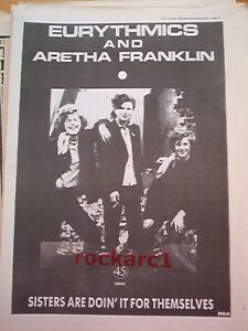 EURYTHMICS-and-ARETHA-FRANKLIN-Sisters-1985-UK-Poster-size-Press-ADVERT-16x12-034