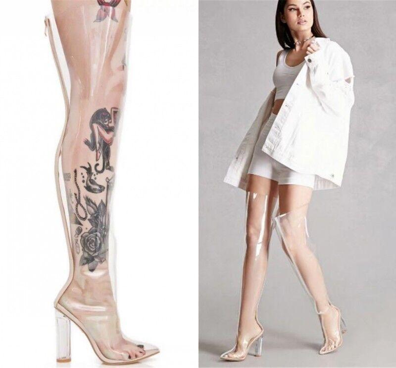 Sconto del 70% donna Sexy Clear Transparent Naked Club Club Club Thigh High Pointy Toe Chunky Heel stivali  compra meglio