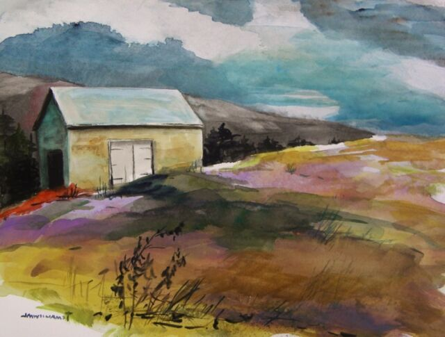 ORIGINAL Barn  Landscape  WATERCOLOR Painting JMW art John Williams expression