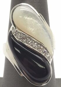 Sterling-Silver-Black-Onyx-Mother-Of-Pearl-CZ-Pave-Marquise-Wide-Cocktail-Ring