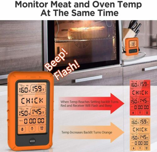 BBQ HoldPeak TP-20s Wireless Remote Digital Cooking Meat Thermometer Dual Probe