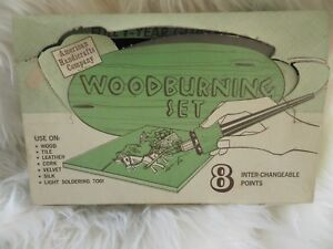 New In Box Vintage American Handicrafts Company Wood Burning Set Wow