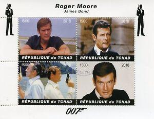 Chad-2018-CTO-James-Bond-Roger-Moore-007-4v-M-S-Film-Pellicola-FRANCOBOLLI