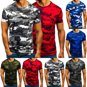 Mens Camo Shirt Fitness Athletic Gym Muscle T Shirt Slim Fit Training Tee Tops