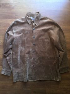 EUC-Pendleton-Brown-Suede-Leather-Button-Front-Lined-Shirt-Mens-Large-L