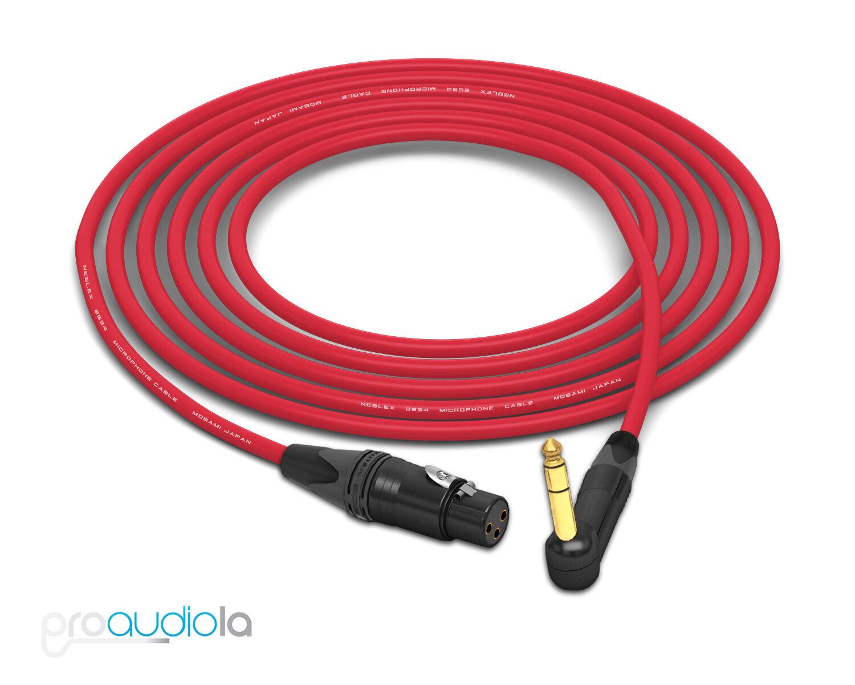 Cable de cuatro Mogami 2534   Neutrik 90 o o o Trs A Xlr oro-HEMBRA   Rojo 25 pies 25'  Nuevos productos de artículos novedosos.