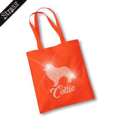 Jutebeutel Beutel Bag Einkaufstasche Shopper Strass Hund Collie M1