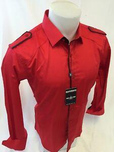 Mens barabas designer shirt woven red solid dress up button up slim fit lt815 for Mens red button up dress shirt