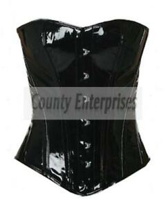 PVC Corset Double Steel Bone Fully Tight Lacing Over Bust PVC Fetish Corset