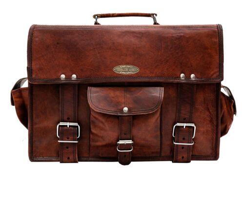 """15/"""" Vintage Briefcase Satchel Soft Leather Laptop Messenger Bag Shoulder Men New"""