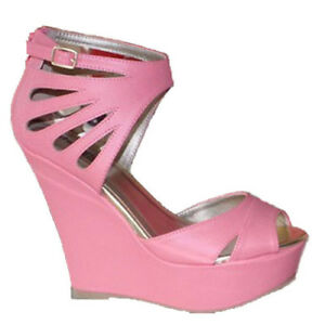 e3b27c55006d2c Details about WOMEN SHOES DESIGNER PINK SKY HIGH PLATFORM WEDGE HEEL SANDALS  EVENING PARTY