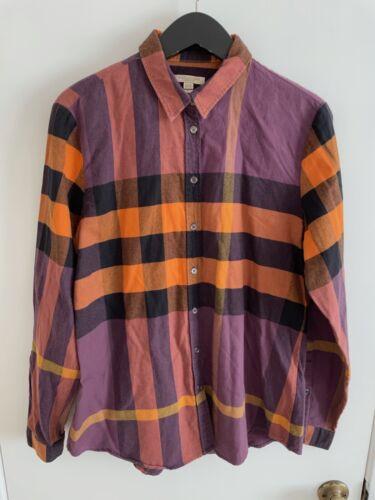 Burberry Ladies Purple Plaid Flannel Shirt, size L