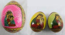 3 x Ikone Ei, 1 x Großes Holz-Ei mit Gottesmutter & 2 Kleine Holz Ei Handgemalt