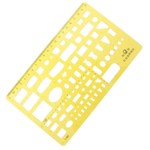 Yellow Plastic Geometric Template Stencil Ruler Suitable for Students