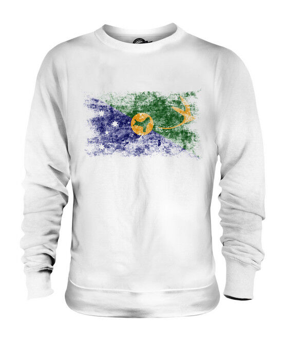 CHRISTMAS ISLAND DISTRESSED FLAG UNISEX SWEATER TOP FOOTBALL GIFT SHIRT CLOTHING