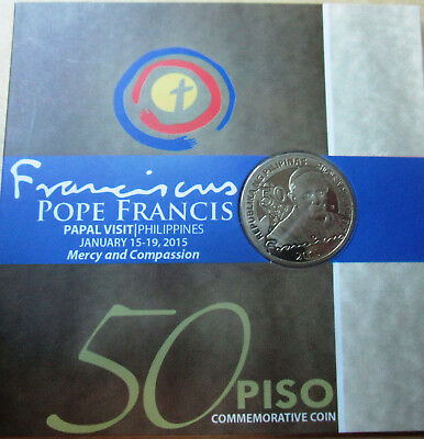 "Philippines 50 piso 2015 /""Pope Francis Visit/"" CoinCard UNC"