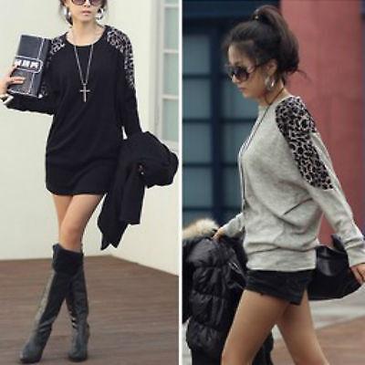 Women's Ladies Leopard Print Batwing Long Sleeve Loose Fit Top/ tunic /T-shirt