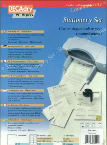 Decadry PSE9003 Stationery Set Fibre Cream Paper Matching Letterhead Envelopes