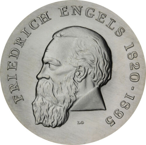 GDR 20 Mark 1970 Friedrich Engels brilliant uncirculated Silver Coin in capsule