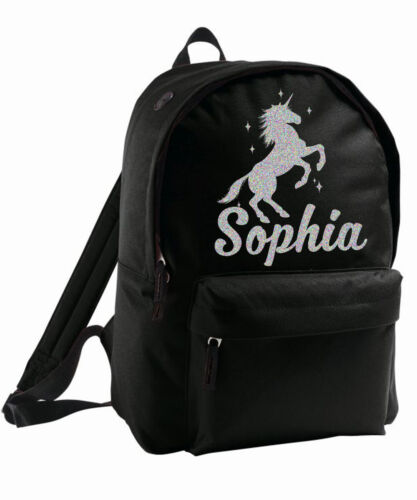 Kids Unicorn Bag Personalised Backpack Rucksack Add Name Silver Sparkle Birthday