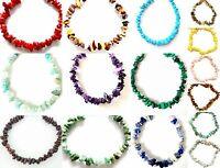 "Gemstone bracelets raw natural chip stone beads elasticated handmade Bracelet 7"""