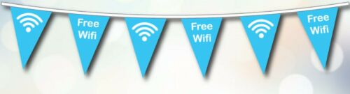 FREE Wifi Access Here Sign Polyester Flag Bunting 5m with 12 Pennants