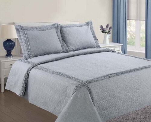 2P FRENCH DESIGN RUFFLE QUILT BEDDING BEDSPREAD QUILTED COVERLET JASMINE TWIN