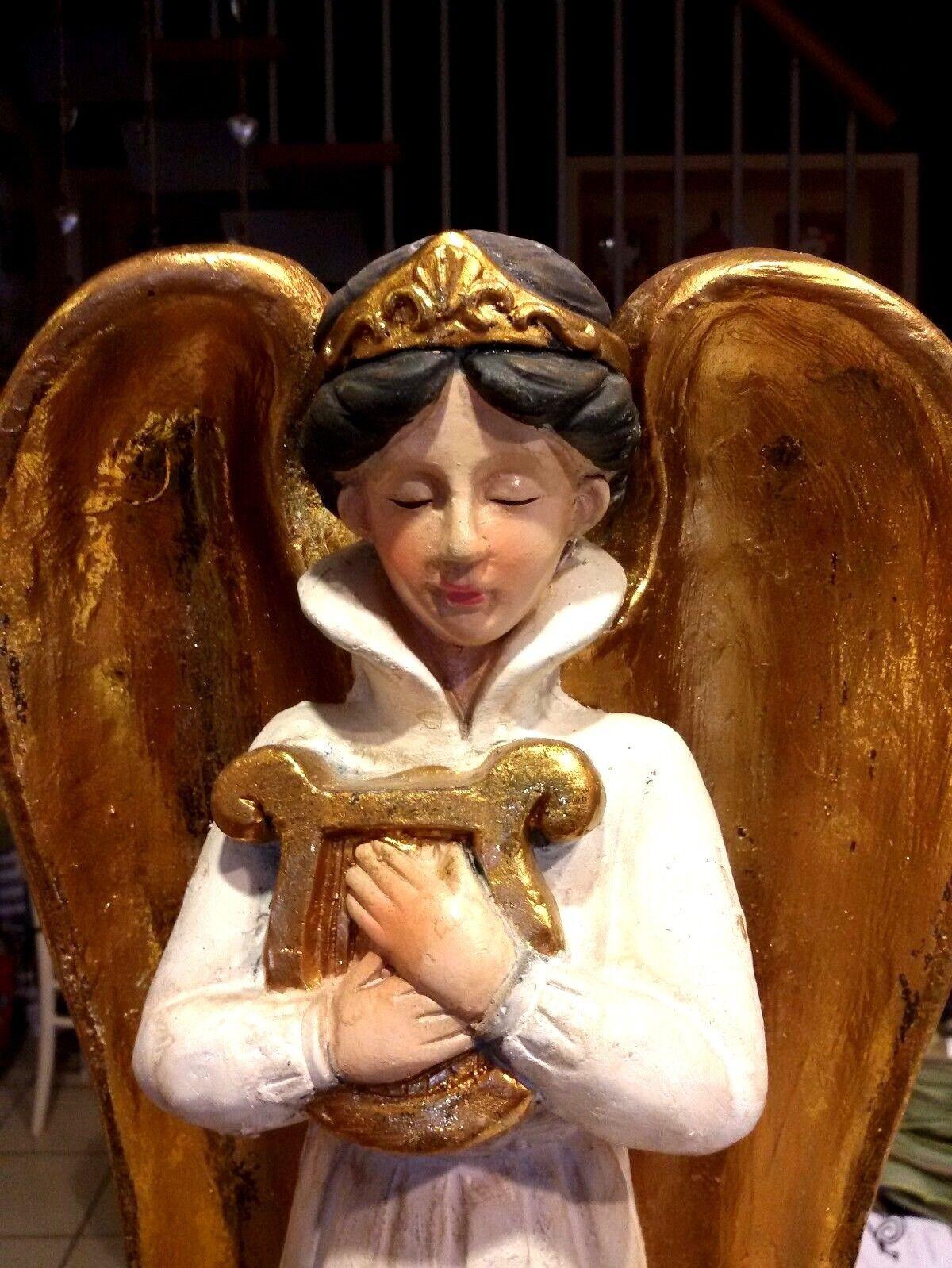 ANGELO DECORAZIONE NATALIZIA CON LIRA ALI DORATE STATUA in gesso cm65 ADDOBBI