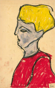 Ben Carrivick - Contemporary Pastel, Blonde Hair and Vibrant Red Shirt