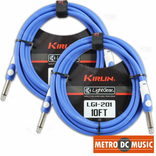 2-Pack Kirlin 10 ft LightGear BLUE Guitar Instrument Patch Cable Cord 20AWG 1//4