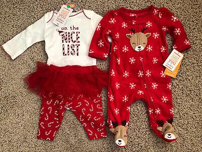 nwt-Lot of 2-Boys-Christmas Fleece Sleeper-Newborn-Dinosaur Santa Hat-Reindeer