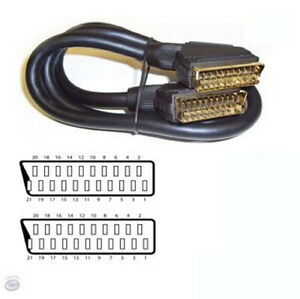 All 21 Pins Audio /& Video Lead Fully Wired Male to Male World of Data 15m SCART Cable - Gold Plated