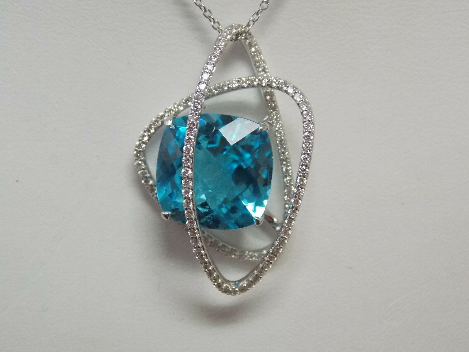bluee Topaz & Diamond Fashion Pendant on 14K White gold by Allura
