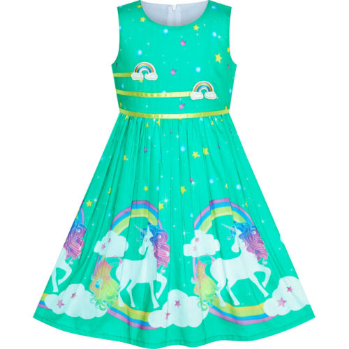 Sunny Fashion Girls Dress Light Pink Unicorn Rainbow Summer Sundress Size 4-12