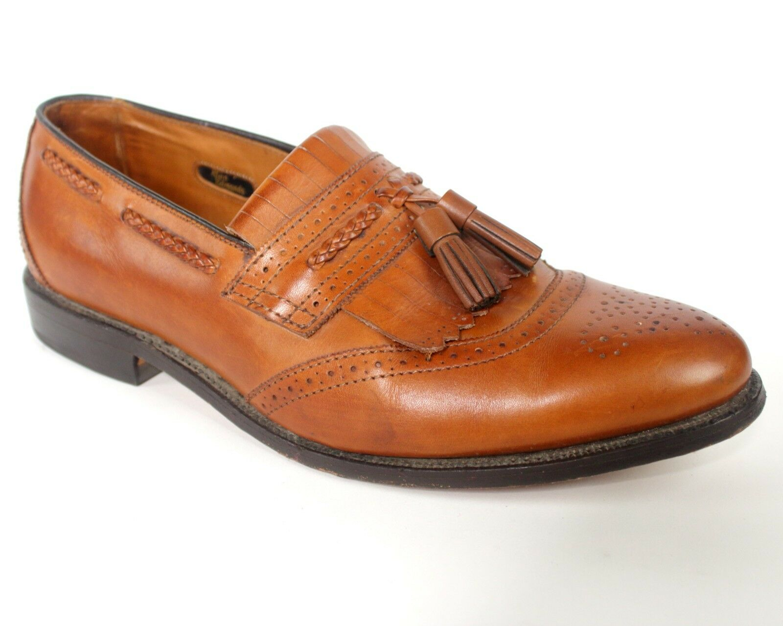 Mens Allen Edmonds Bradenton Brown Leather Brogues Kiltie Tassel Loafers Sz 8.5