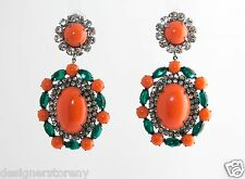 Kenneth Jay Lane gunmetal/crystal coral/emerald clip earrings