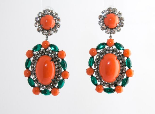 Kenneth Jay Lane Gunmetal Crystal C Emerald Clip Earrings