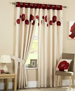 Danielle-Eyelet-Ring-Top-Lined-Curtains-Embroidered-Poppy-Flower-Flock-Shiny-New