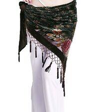 ZLTdream Womens Belly Dance Trangular Hip Scarf Grade Velvet Coffee