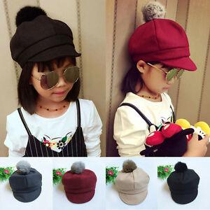 Child Kids Baby Girl Boy Fashion Hat Fur Pom Bobble Beret Cap Peaked ... 8cea5dfb788