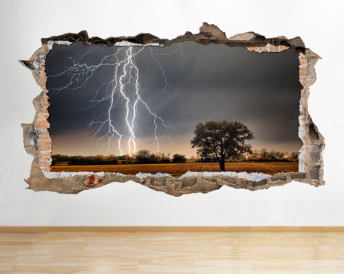 Details about  /S342 Lightning Night Sky Field Smashed Wall Decal 3D Art Stickers Vinyl Room