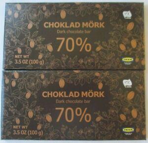 2 - ikea choklad mork 70% dark chocolate 3.5-oz bars   ebay