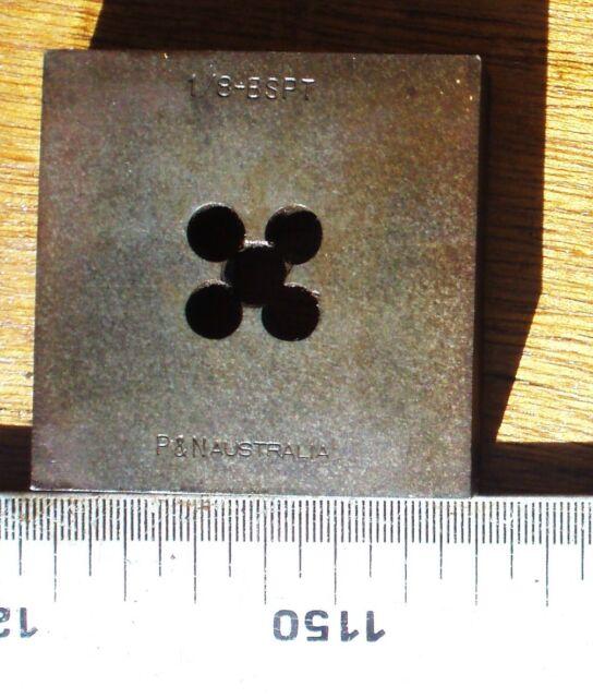"BSP 1/8"" x 28, RH Square warragul Die 60mm x 60mm x 19mm (2 3/8"" x 2 3/8"")P&N"