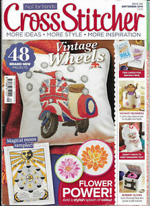 Cross-Stitcher-Iss-296-Vintage-Wheels-Scooter-Magical-Moon-Sampler-Bobbin-Along