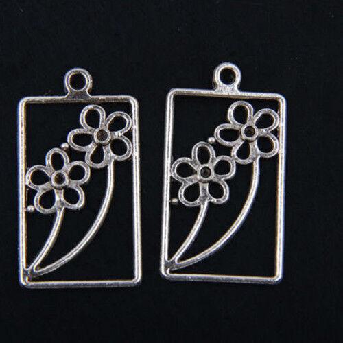 10pcs Tibetan Silver Flower Pendants Charms For Jewelry Making FA712