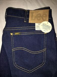 82a461dc7e Vtg Lee Jeans 30 x 36 Reg Fit Straight Leg Indigo Stretch USA Union ...