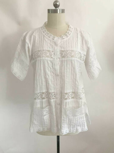Vtg Mexican Button Front White Lace Pintuck Pleate