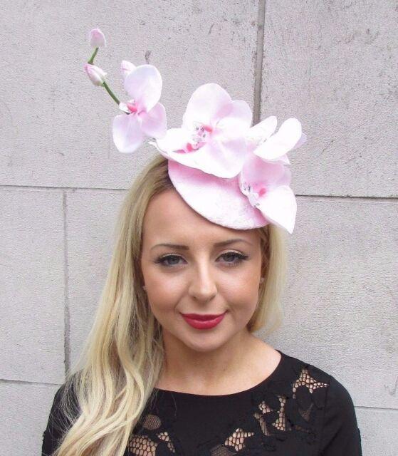 Light Baby Pink Orchid Flower Fascinator Hat Headband Races Wedding Clip 3325